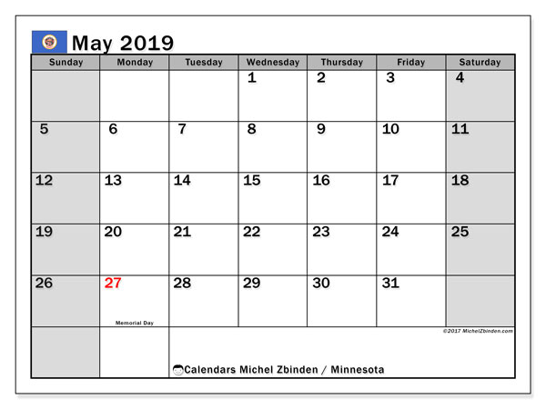Calendar May 2019, with the holidays of Minnesota. Calendar to print free.