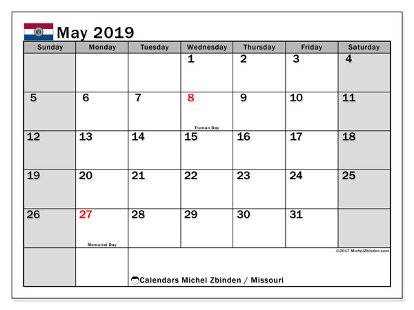 May 2019 Calendar, with the holidays of Missouri. Free printable calendar with public holidays.