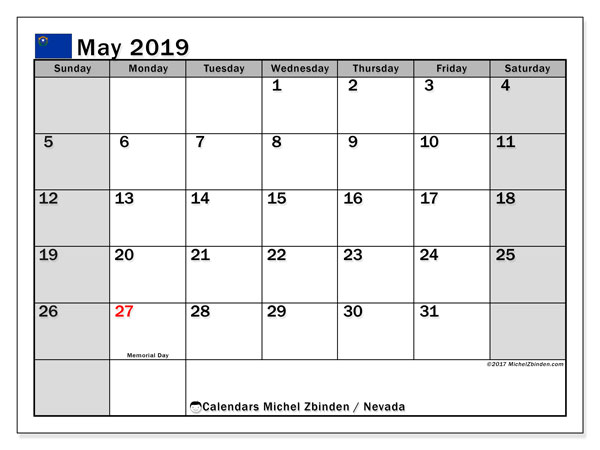 Calendar May 2019, with the holidays of Nevada. Free printable monthly calendar.