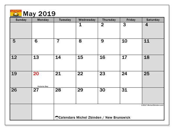 Calendar May 2019, with the holidays of New Brunswick. Free printable monthly calendar.