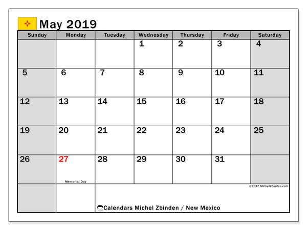 May 2019 Calendar, with the holidays of New Mexico. Holidays calendar to print free.