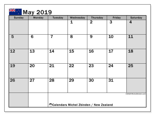 calendar may 2019 with the holidays of new zealand planner to print free