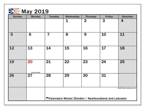 May 2019 Calendar  - Newfoundland and Labrador. Printable calendar: official holidays.
