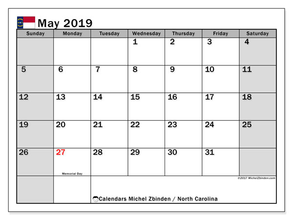 Calendar May 2019, with the holidays of North Carolina. Free printable planner.
