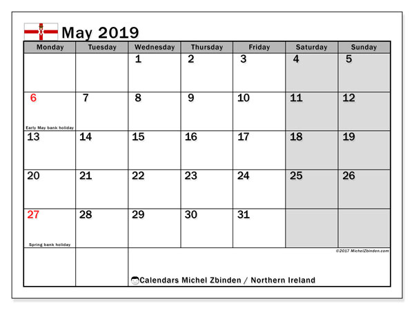 May 2019 Calendar Northern Ireland Uk Michel Zbinden En