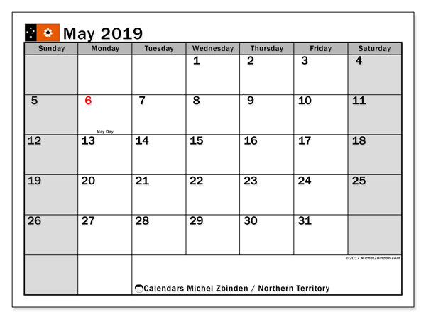 Calendar May 2019, with the holidays of Northern Territory. Free printable bullet journal.