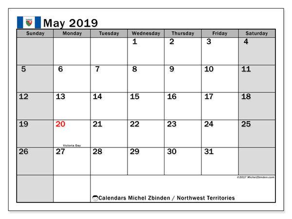 Calendar May 2019, with the holidays of Northwest Territories. Free bullet journal to print.