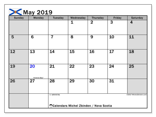 Calendar May 2019, with the holidays of Nova Scotia. Calendar for the month to print free.