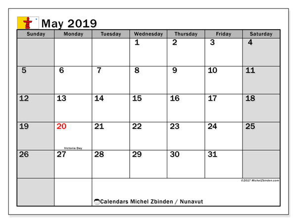 Calendar May 2019, with the holidays of Nunavut. Free printable monthly planner.