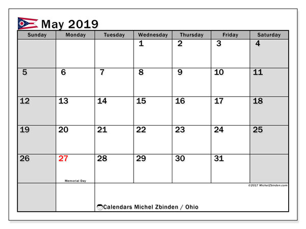 May 2019 Calendar, with the holidays of Ohio. Holidays calendar to print free.