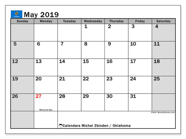 May 2019 Calendar, with the holidays of Oklahoma. Holidays calendar to print free.