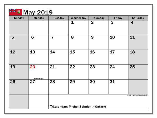 Calendar May 2019, with the holidays of Ontario. Free printable calendar.