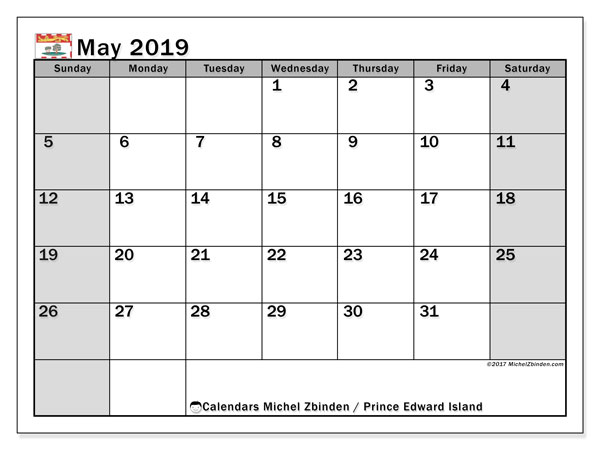 Calendar May 2019, with the holidays of Prince Edward Island. Monthly planner to print free.