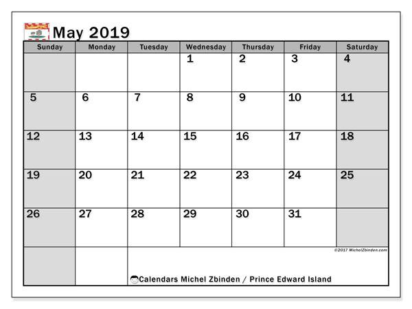 May 2019 Calendar  - Prince Edward Island. Printable calendar: public holidays.