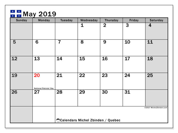 May 2019 Calendar  - Quebec. Printable calendar: public holidays.