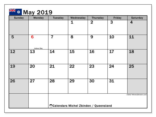 Calendar May 2019, with the holidays of Queensland. Free printable calendar.