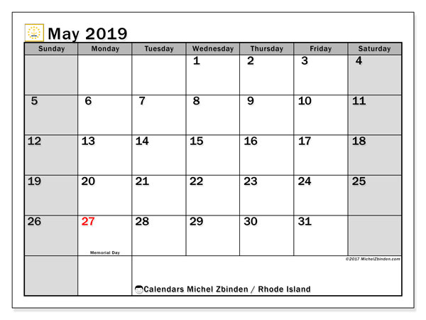 May 2019 Calendar, with the holidays of Rhode Island. Free printable calendar with public holidays.