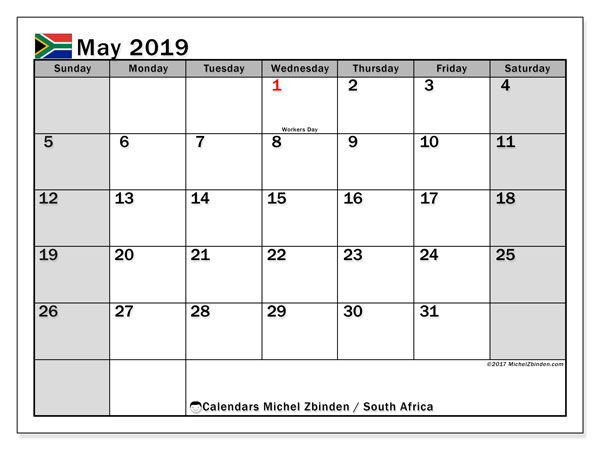 Calendar May 2019, with the holidays of South Africa. Bullet journal to print free.