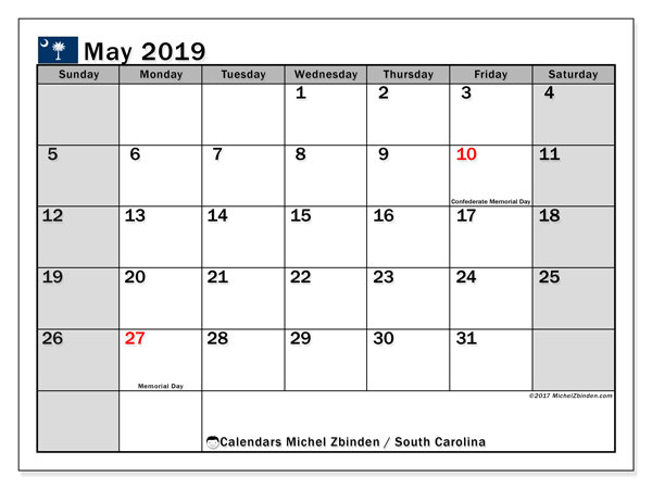 Calendar May 2019, with the holidays of South Carolina. Monthly calendar to print free.