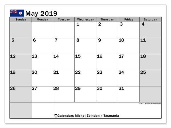 Calendar May 2019, with the holidays of Tasmania. Calendar to print free.