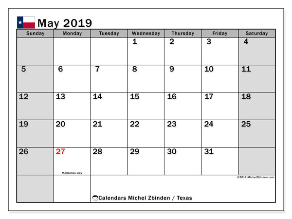 May 2019 Calendar, with the holidays of Texas. Holidays calendar to print free.