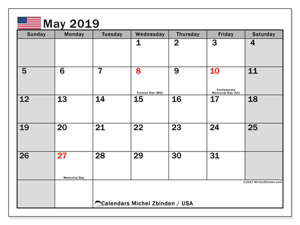 photograph about Free Printable Calendar With Us Holidays called Might 2019 Calendar, United states - Michel Zbinden EN