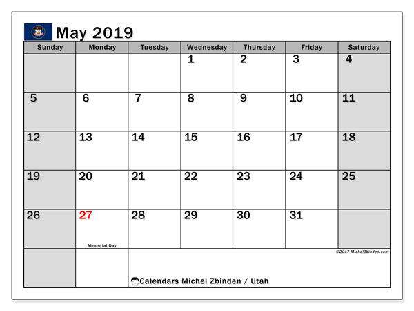May 2019 Calendar, with the holidays of Utah. Free printable calendar with public holidays.