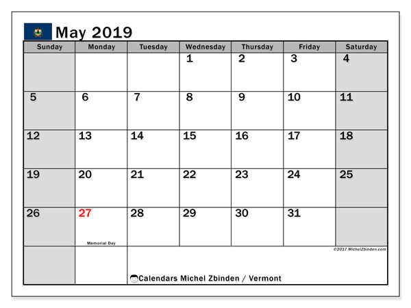 May 2019 Calendar, with the holidays of Vermont. Free printable calendar with public holidays.