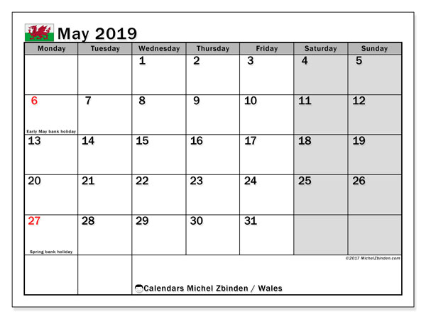 Calendar May 2019, with the holidays of Wales. Monthly calendar to print free.