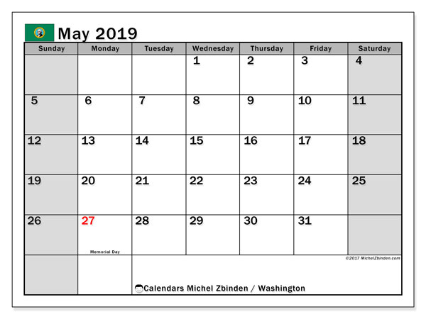 May 2019 Calendar, with the holidays of Washington. Holidays calendar to print free.