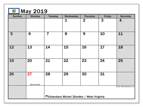 Calendar May 2019, with the holidays of West Virginia. Free bullet journal to print.