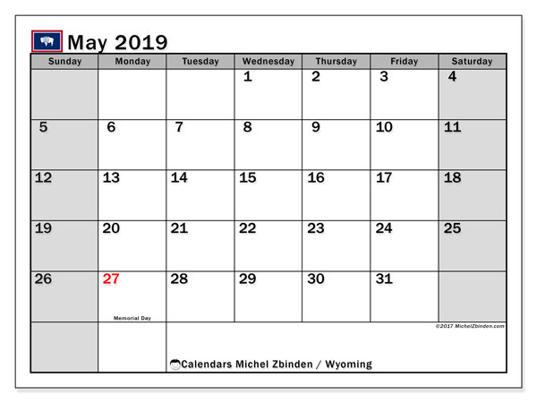 Calendar May 2019, with the holidays of Wyoming. Free bullet journal to print.