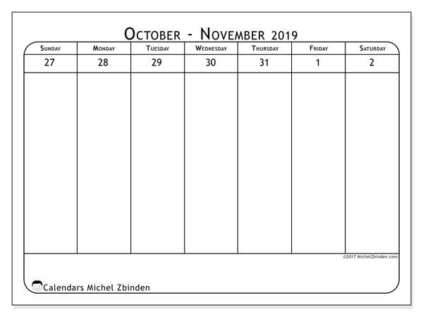Calendar  November 2019, 43-1SS