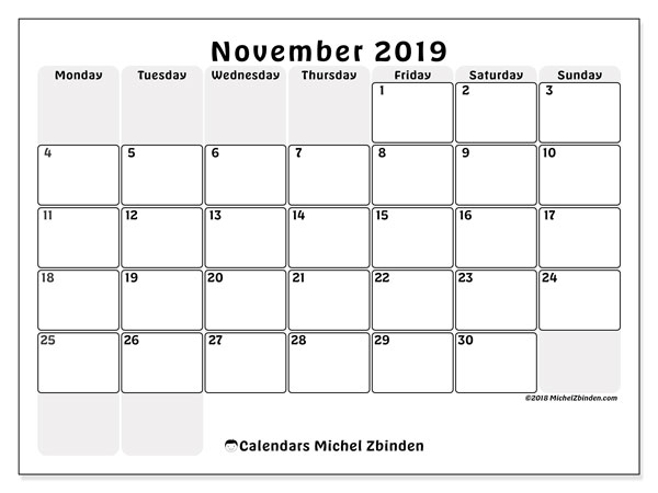 November 2019 Calendar, 44MS. Monthly planner to print free.