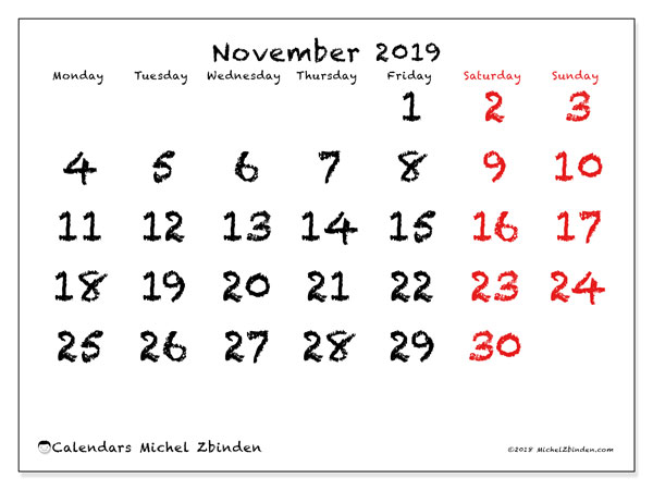 November 2019 Calendar, 46MS. Planner to print free.
