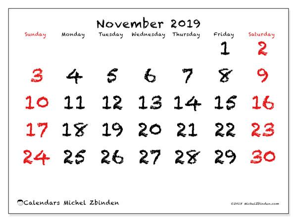 November 2019 Calendar, 46SS. Free printable monthly planner.