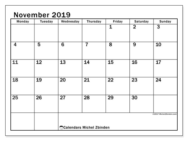 November 2019 Calendar, 50MS. Monthly planner to print free.