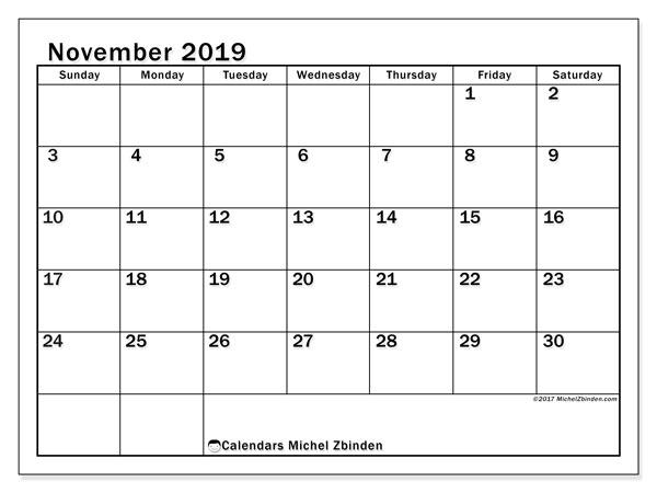 November 2019 Calendar, 50SS. Calendar for the month to print free.