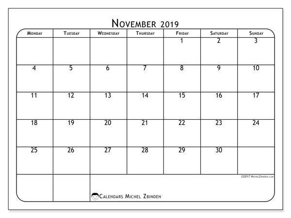 November 2019 Calendar, 51MS. Planner to print free.