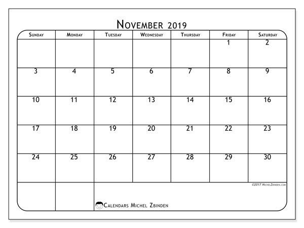 November 2019 Calendar, 51SS. Monthly planner to print free.