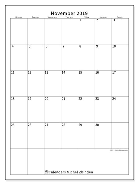 November 2019 Calendar, 52MS. Free printable monthly planner.