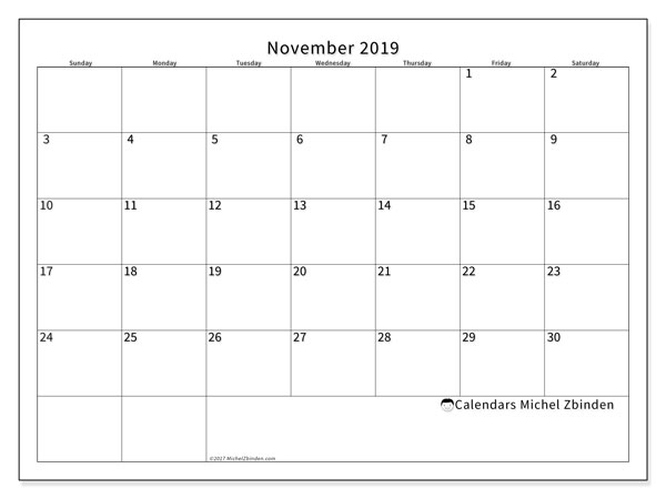 November 2019 Calendar, 53SS. Free printable monthly calendar.
