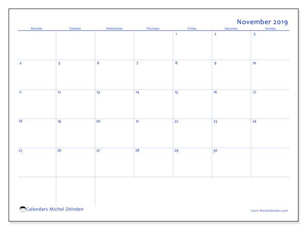 November 2019 Calendar, 55MS. Planner to print free.