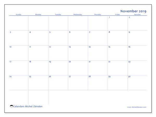 Calendar  November 2019, 55SS