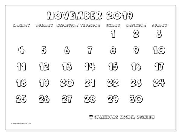 November 2019 Calendar, 56MS. Free printable monthly calendar.