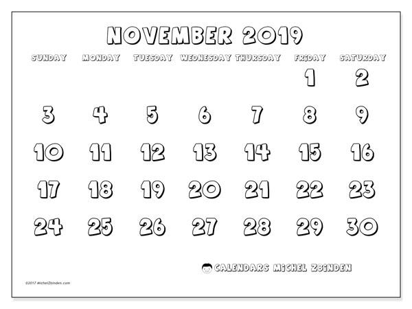 November 2019 Calendar, 56SS. Calendar to print free.