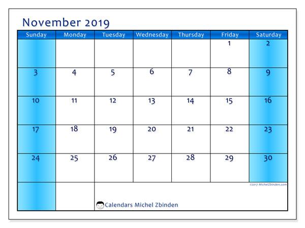 November 2019 Calendar, 58SS. Free printable calendar.
