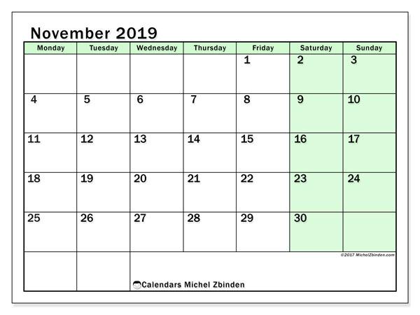 November 2019 Calendar, 60MS. Calendar for the month to print free.
