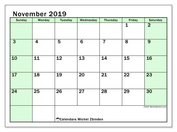 November 2019 Calendar, 60SS. Free bullet journal to print.