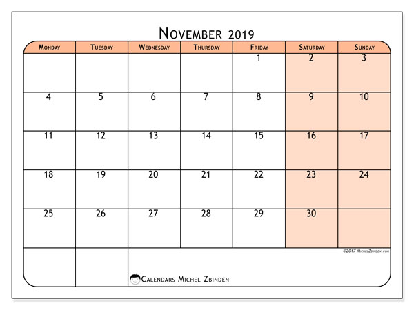 November 2019 Calendar, 61MS. Free printable monthly calendar.